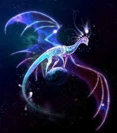 Hybrids, while unusual, are not that uncommon. These dragons belong to no set species. They're their own entity, which can be both a blessing and a curse. This dragon appears to be the legendary hybrid of dream and cosmic dragon. Cute Fantasy Creatures, Mythical Creatures Art, Magical Creatures, Fantasy Dragon, Fantasy Art, Mythical Dragons, Mystical Animals, Fantasy Beasts, Dragon Artwork