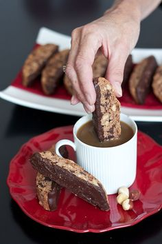 Chocolate Hazelnut Biscotti . { lovely nutty flavoured biscotti recipe dipped in chocolate . perfect with a cup of coffee & watching the Bake Off . the Great British Bake Off 2015 . Episode2 . signature bake } . (nutella hot chocolate breakfast)