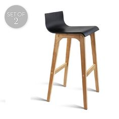 Set of 2 Oak Plywood Bar Stools | Black/Wood | 94x47cm | Trendy Chairs & Tables @ The Home