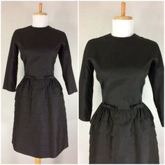 VINTAGE 1960s 50s BLACK DRESS GAY GIBSON ACCENT BOWS LAYERED COCKTAIL PARTY S