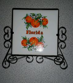Vintage Florida Napkin Holder Black Metal Ceramic Oranges   Please RePinit, ReTweet and Share on FB Thanks & Have a GREAT Week.