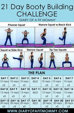 21 Day Booty Building Squat Workout Challenge - Diary of a Fit Mommy - Workout Plan - 21 Day Workout, Squat Workout, Mommy Workout, Lazy Girl Workout, Workout Ideas, Fitness Herausforderungen, Fitness Workouts, Butt Workouts, Wellness Fitness