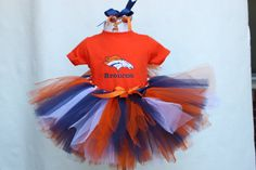 Personalized Denver Bronco Tutu set with Orange tshirt and matching hair bow.  Toddler sizes and larger youth available for your Bronco fan. $52.00, via Etsy.