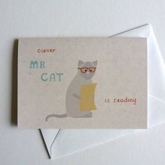Cat Character Children's Birthday Card by LIL3BIRDY