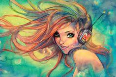 Sweet gamer chick art!