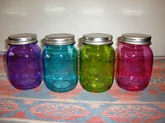 New Multicolor Glass Mason Jar 20oz Mugs Set of 4 Glasses with Lids Drinkware B | eBay