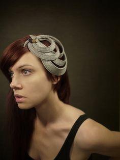 Modern Sculptural Grey Felt Headband/Fascinator - Made to order. $60.00, via Etsy.