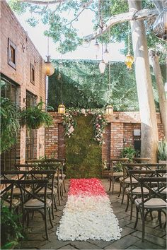 Outdoor garden ceremony with ombre aisle | See more: http://www.thesoutherncaliforniabride.com/2015/02/elegant-and-romantic-pink-wedding-inspiration.html