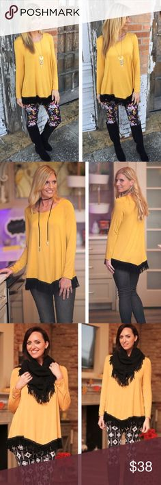 2 Left! ❄️Mustard Beyond Basic V Fringe Tunic!❄️ ❄️Mustard Beyond Basic V Fringe Tunic! This Tunic is very silky & smooth with Faux Suede Trim! Comes to a subtle V trimming the bottom of this adorable Tunic! Color is Mustard. Only have 1 medium & 1 large left - going fast!❄️ Boutique Tops Tunics