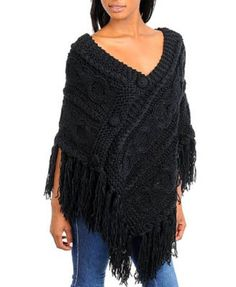 G2 Fashion Square Fringe Knitted Stylish Sweater Poncho(TOP-CGN,DGY-OS)