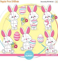 70% OFF SALE Easter clipart, Easter bunny clip art, Easter eggs, Easter clip art, cute Easter graphics - CA378 by PremiumClipart on Etsy