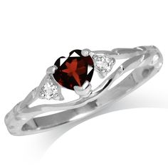 Natural Heart Shape Garnet White Topaz Sterling Silver Engagement Ring Sz 5 HBTK | eBay
