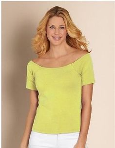Soft Surroundings Green Cotton Underwire Tee Top Blouse Built in Bra size 36B M