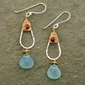 Teardrop Sterling and Aquamarine Earrings