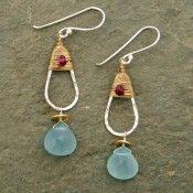 Teardrop Sterling and Aquamarine Earrings
