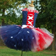 Custom over the top patriotic stars and stripes Daddys homecoming or pageant corset and tutu set. 6 7 8 tween girls sizes. $95.00, via Etsy.
