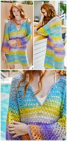 Crochet Orient Beach Tunic Free Pattern - #Crochet #Beach Cover Up Free Patterns
