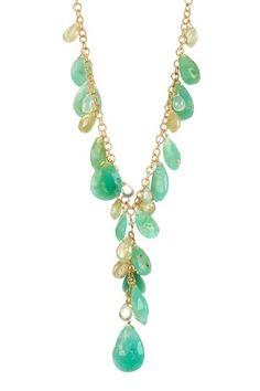 Candela Chrysoprase, Prehnite & Green Garnet Y-Necklace by Candela Jewelry on @HauteLook