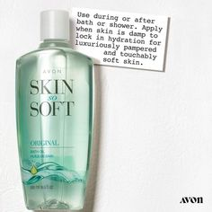 Pamper yourself with the signature oils of Avon Skin So Soft body oil body wash and shower gel. Say hello to skin that is oh so soft. Avon Skin So Soft, After Bath, Bath Or Shower, Avon Online, Shops, Avon Representative, Makeup Techniques, Medium, Bath And Body