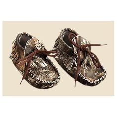 Camo Leather Baby Moccasins