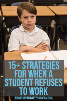 Behavioral students and what to do when a student refuses to work. 15 classroom management strategies for challenging students. Student Behavior, Classroom Behavior, School Classroom, Kindergarten Behavior, Classroom Discipline, Behavior Plans, Classroom Tools, Behavior Charts, Student Loans