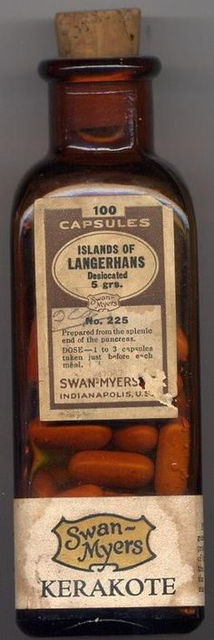 ☞ MD ☆☆☆ ~~A Noble Attempt To Produce The First INSULIN Pill!~~.  Islet of Langerhans are those special cells in the pancreas that made insulin.  The early endocrine business was based mostly on animal parts--sliced, dried and powdered.  Adrenal glands, ovaries, thyroids, etc. were the major products.