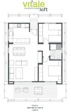 Casas Prefabricadas Modulares De Hormigón   Modelo Optima 75 M2