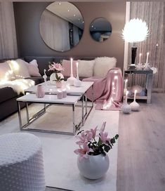 Living room setup grey pink and white colour scheme - - Wohnkultur Ideen - Wohnzimmer Living Room Setup, Living Room Decor Cozy, Living Room Grey, Home Living Room, Apartment Living, Living Room Designs, Cozy Bedroom, Cozy Apartment, Apartment Ideas