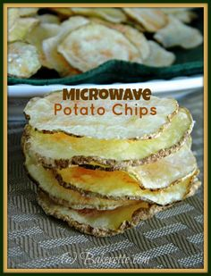 Make your own healthy potato chips--no oil or deep frying needed--using the magic of your microwave. A cheaper, healthier, low-fat alternative to store bought. Bakerette.com. #snacks #low-fat