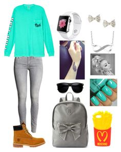 """Untitled #37"" by cannonsamiya on Polyvore featuring Victoria's Secret, Timberland, Candie's and Moschino"