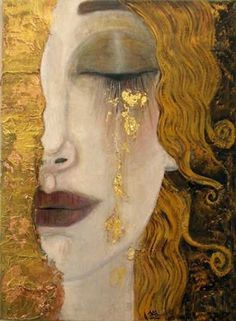 For clarity, this painting is often attributed to Klimt, but was not painted by him. This painting, 'Freya's Tears' was painted by French artist Anne-Marie Zilberman in the style of Klimt. Gustav Klimt, Art Klimt, Art Amour, Street Art, Art Design, Interior Design, Art Plastique, Love Art, Oeuvre D'art