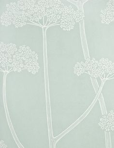 Anise Wallpaper Aqua blue wallpaper with dainty aniseed plant print in white.