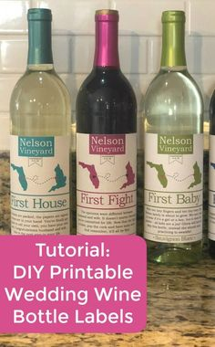 Tutorial: Print and Cut Wedding Wine Bottle Labels with Silhouette Cameo - Great gift or product idea for Etsy shop owners - by cuttingforbusiness.com