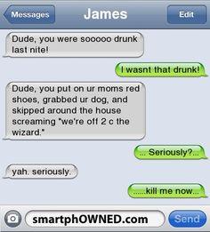 I wasn't that drunk… wizard of drunk