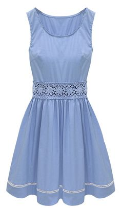 Blue Sleeveless Crochet Lace Embellished Waist Skater Dress