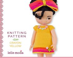 Dress For Disney Animators Yellow Crayon  Knitting Pattern Easy PDF Instant Download