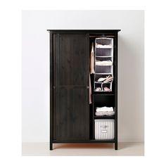 HEMNES Wardrobe with 2 sliding doors - black-brown - IKEA