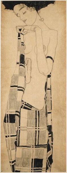"""Gerti Schiele in plaid garment"" 1909 - Egon Schiele"