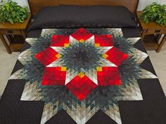 Tumbling Star Quilt -- superb adeptly made Amish Quilts from Lancaster (hs5830)amishcountrylanes