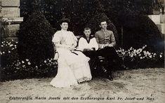 Archduchess Maria Josefa of Austria (1867-1944) and sons Maximilian (1895-1952) and Karl (1887-1922), 1910