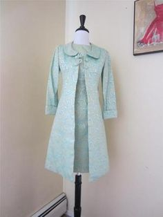 Vintage 1950's 60's Dress Suit w Jacket Green Blue Set Paisley Brocade Mod XS S | eBay