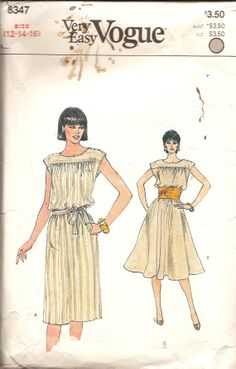Vintage Sewing Pattern 1980s Dress Pattern Vogue by TenderLane, $8.00