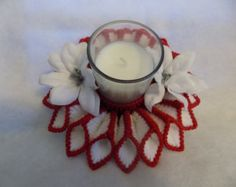 Plastic canvas candle holder by cpt4morgan on Etsy