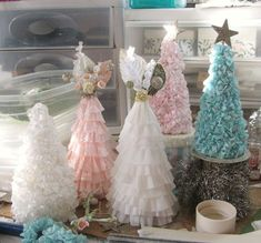 Lovely crepe paper trees by karin at Creative Chaos....for the girls' room!