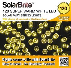 Solar Brite Deluxe Solar Fairy Lights 120 Super Bright Warm White LED Decorative String, choice of light effect. Ideal for Trees, Gardens, Parties & More Solar Brite http://www.amazon.com/dp/B00UX2KD2K/ref=cm_sw_r_pi_dp_xoOexb1VQEKQD