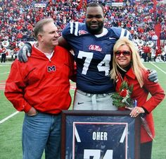 """Sean and Leigh Anne Tuohy and their adopted son, Ole Miss lineman Michael Oher, are the focus of the movie """"The Blind Side,"""" starring Sandra Bullock."""