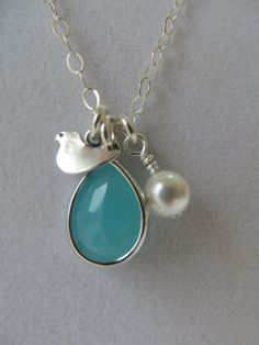 Turquoise pendant necklace turquoise pearl by MarciaHDesigns, $28.00 - kids' birth months