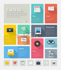 Flache Bauweise modernen Vektor-Illustration Konzept des minimalistisch stilvollen Infografik Elemente mit Symbolen Homepage eingestellt ode...
