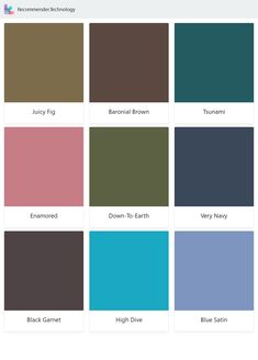 Juicy Fig, Enamored, Black Garnet, Baronial Brown, Down-To-Earth, High Dive, Tsunami, Very Navy, Blue Satin