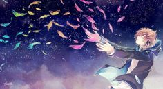 anime boy sky night headphone music